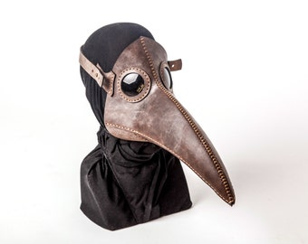 Plague Doctor Mask Brown Leather Medieval Costume Cosplay