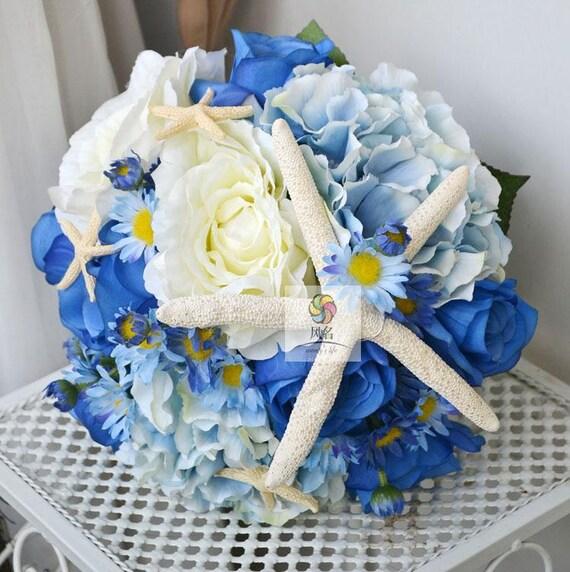 Hochzeit Seide Kunstliche Blumen Blumenstrauss Blau Und Weiss Etsy