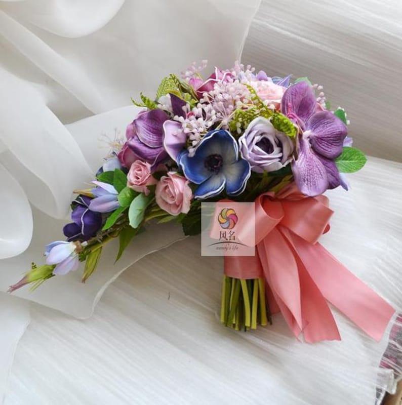 Fleur Artificielle Mariage Bouquet De Mariee Cascade Pourpre Etsy