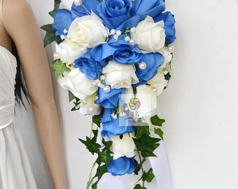 wedding bouquet silk flower,waterfall, rose, lily,long style