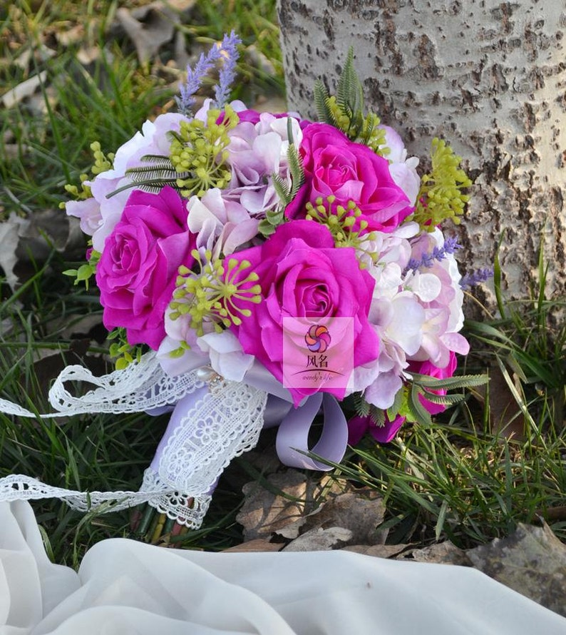 artificial flower bridal vintage bouquet pink hydrangea rose