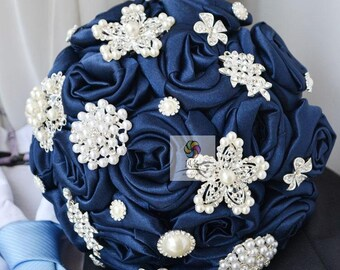wedding bouquet fabric flower and ornaments dark blue and brooch