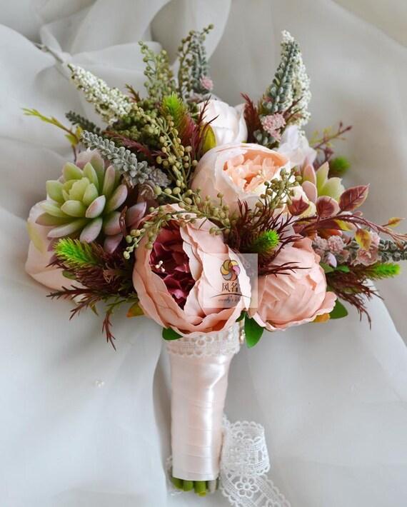 Kunstliche Blume Hochzeit Brautstrauss Vintage Pfingstrose Etsy
