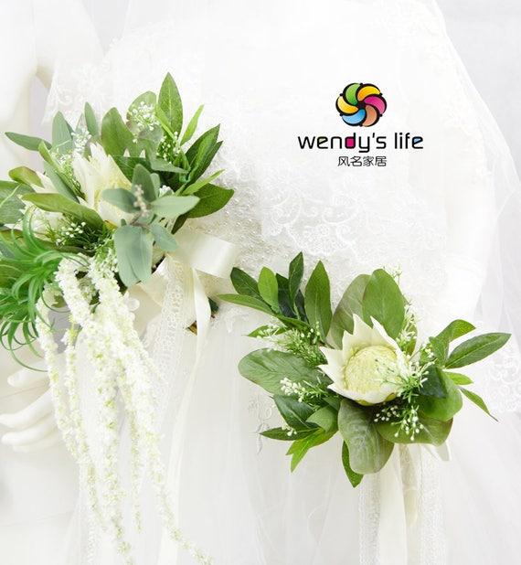Fleur Artificielle Mariage Bouquets De Mariee Createur Protea Etsy