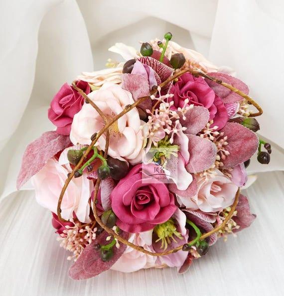Rose Fleur Artificielle Mariage Bouquets De Mariee Vintage Etsy
