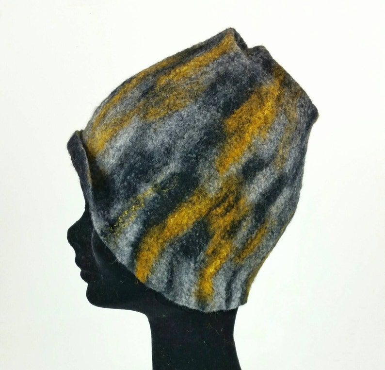 Black grey and yellow Merino and silk hand felted hat