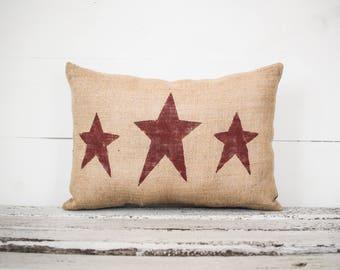 Three star burlap fabric Pillow Decorative Pillow family pillow home decor  pillow 15x10 accent pillow americana patriotic decor da7b8cd49445