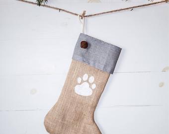 Handmade Burlap Christmas pet Stocking with gray cuff & white dog paw Christmas Stocking