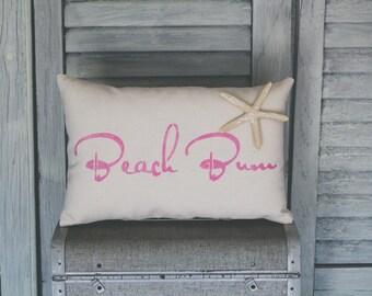 Beach Bum Decorative Pillow, Beach Pillow, Decor Pillow, Simple Pillow burlap pillow 15x10 accent pillow