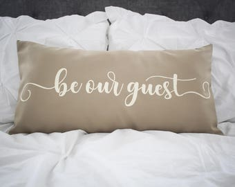 Be Our Guest lumbar pillow cover, farmhouse style,12x24 pillow cover, burlap pillow cover, fabric pillow cover * Free Shipping*