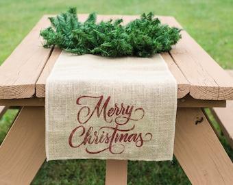 Merry Christmas Burlap Table Runner, Table Runner, Holiday Table Runner, Christmas Table Runner *Free Shipping*