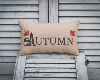 Fall Pillow Autumn Pillow Fall Decor Autumn Leaves Decorative Pillow burlap pillow fabric pillow 15x10 accent pillow