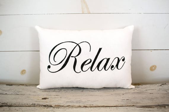 Relax Decorative Pillow Decor Pillow Simple Pillow Burlap Etsy Cool Relax Decorative Pillow