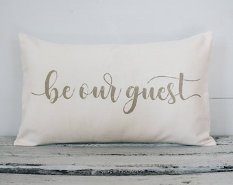 Be Our Guest lumbar pillow cover, farmhouse style,12x22 pillow cover, burlap pillow cover, fabric pillow cover * Free Shipping*