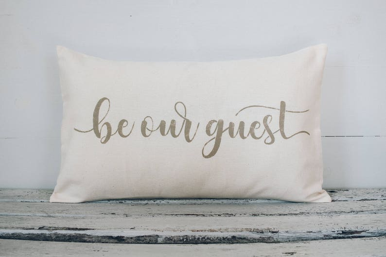 Be Our Guest lumbar pillow cover farmhouse style12x22 pillow image 0