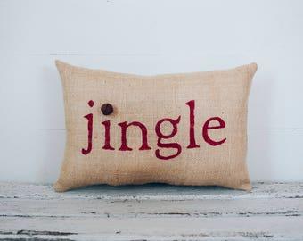 Christmas Pillow Decor Pillow Jingle Christmas Pillow burlap pillow 15x10  accent pillow