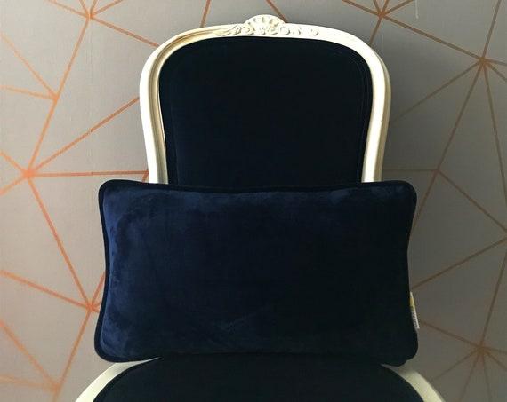 Navy Blue Lumbar Velvet Pillow Cover, Dark Blue Soft Velvet Cushion Cover