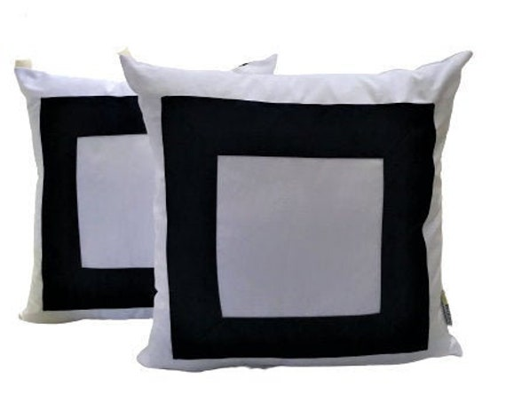 White With Navy Blue Pillow Cover, Square Design, Geometric Pillow