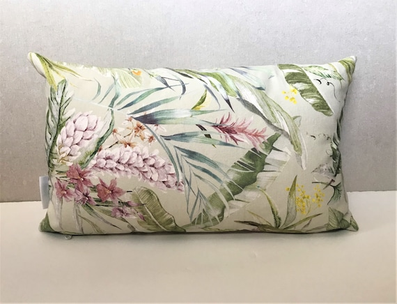 Tropical Pillow Cover, Floral Cushion Cover in Pure Cotton