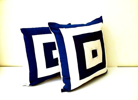 Navy Blue and White Throw Pillow Cover,  Square Design Cushion Cover