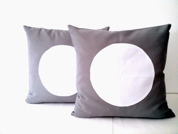 Grey Throw Pillow Cover With Circle, Geometric Grey Cushion With White  Circle