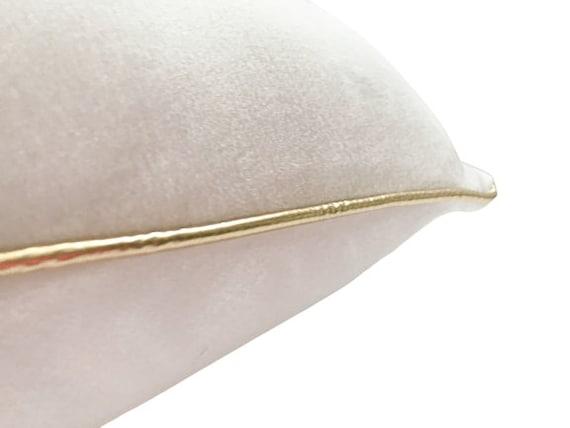White And Gold Velvet Pillow Cover, Plush White Velvet Cushion