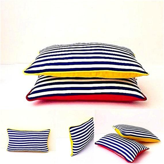 Stripes Blue and White Pillow, Nautical Style Striped Cushion, Beach Style Design Pillow