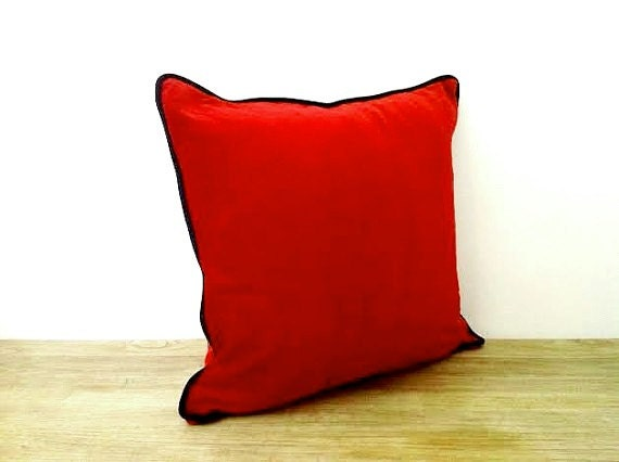 OFFER! HURRY! 50% Discount, Red Velvet Throw Pillow Cover, Velvet Cushion Cover with Black Piping