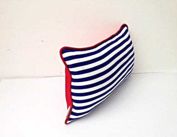 Nautical Blue and White Stripes Pillow, Backrest Cushion, Free Shipping