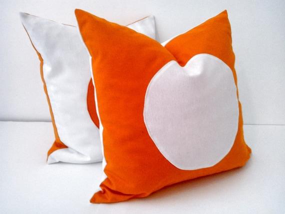 Orange Throw Pillow Cover With White Circle, Geometric White and Orange Cushion