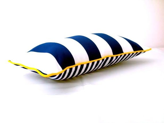 Nautical Style Blue and White Stripes Throw Pillow Cover,  Beach Style Cushion, Free Shipping