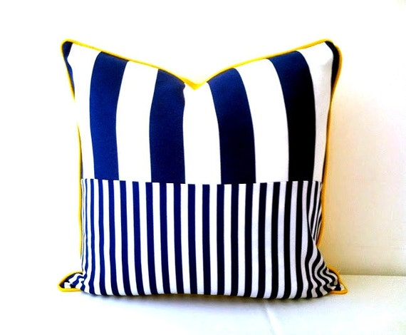 Nautical Style Throw Pillow Cover, Stripes Navy Blue and White Cushion