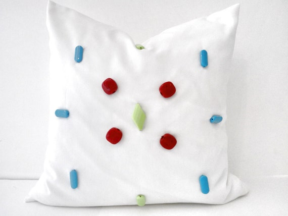 OFFER HURRY! 50% DISCOUNT Throw Pillow, White Cotton and Coral Stone Modern Design, Home Accent