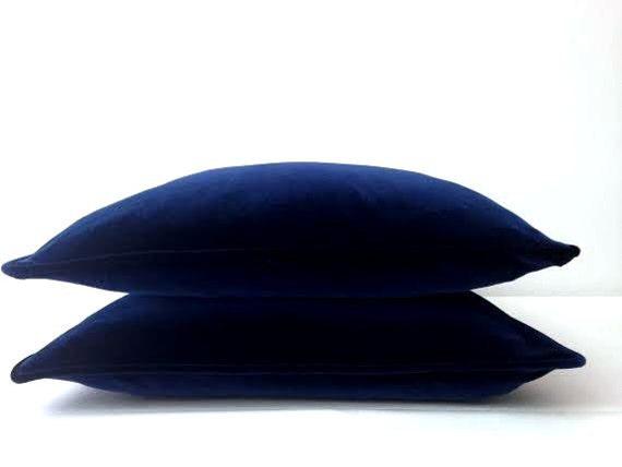 OFFER! HURRY! 50% Discount, Navy Blue Velvet Throw Pillow Cover, Velvet  Blue Cushion Cover