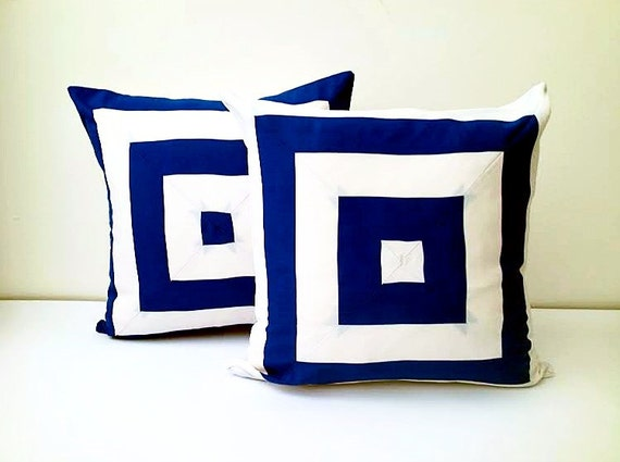 Navy Blue and White Throw Pillow Cover, Square Design Cushion Cover, Free Shipping