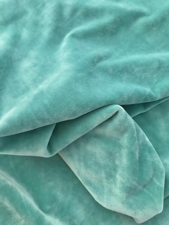 Mint Plush Velvet Fabric,  Teal Velvet, Sold By the Yard/Meter