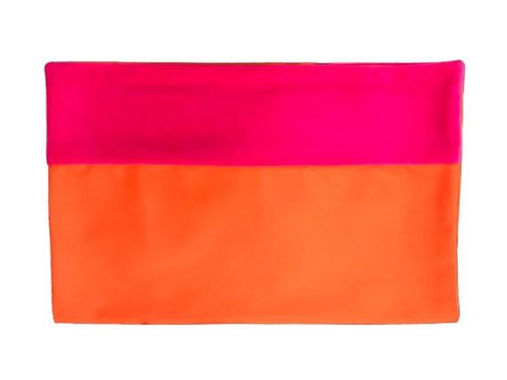 Bed Runner in Orange and Fuchsia, Gabardine and Velvet Border Runner, Available in 5 Sizes