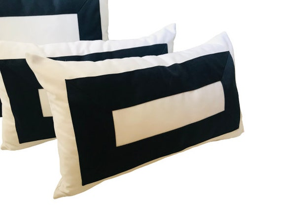 White With Navy Blue Pillow Cover, Rectangular Design, Geometric Pillow