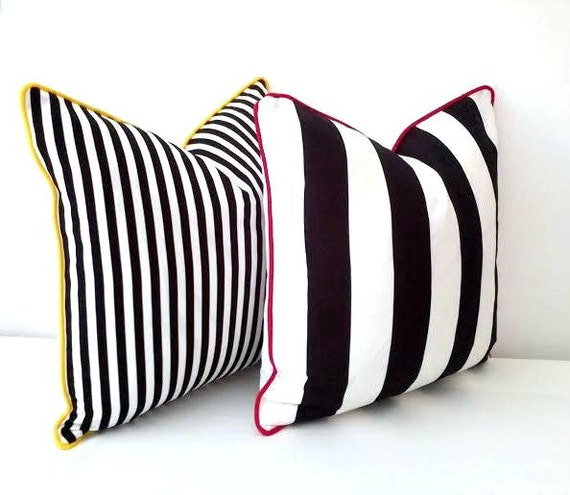 Striped Black and White Throw Pillow Cover, Wide Black and White Stripes With White Back, Beach Cushion Design