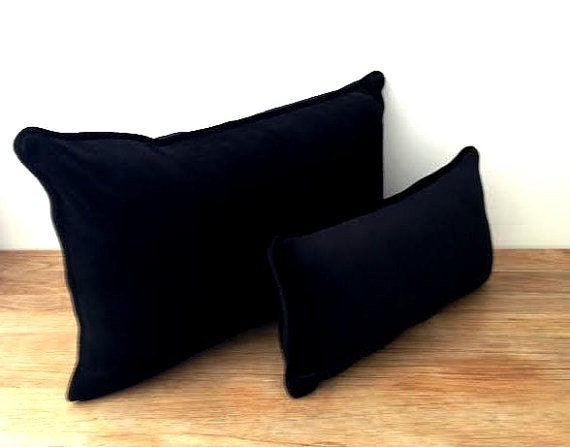 Black Velvet Throw Pillow Cover With White Piping
