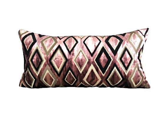 Velvet Pillow Cover With Diamond Shapes, Luxe Cushion Collection