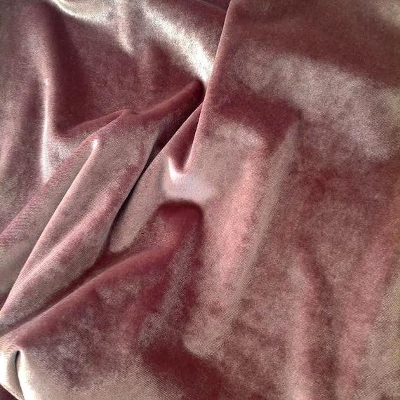 "Dusty Rose Velvet Fabric By the Yard, Width 57"", Dusty Pink Velvet Material"