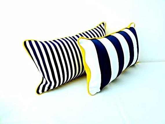 Nautical Stripes Blue and White Throw Pillow, Cushion Beach Style Design, Free Shipping