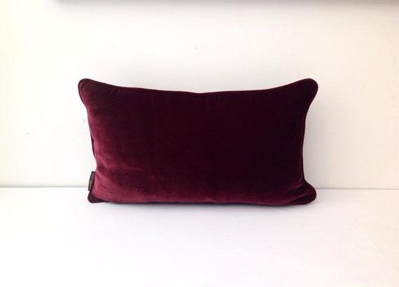 Burgundy Velvet  Pillow Cover, Burgundy Cushion with Burgundy Piping