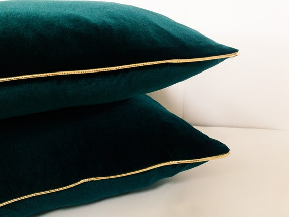 Gold and Emerald Velvet Pillow Cover, Velvet Green Cushion Cover With Gold Piping