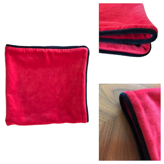 OFFER! HURRY! 50% Discount! Red Velvet Pillow Cover With a Black Piping