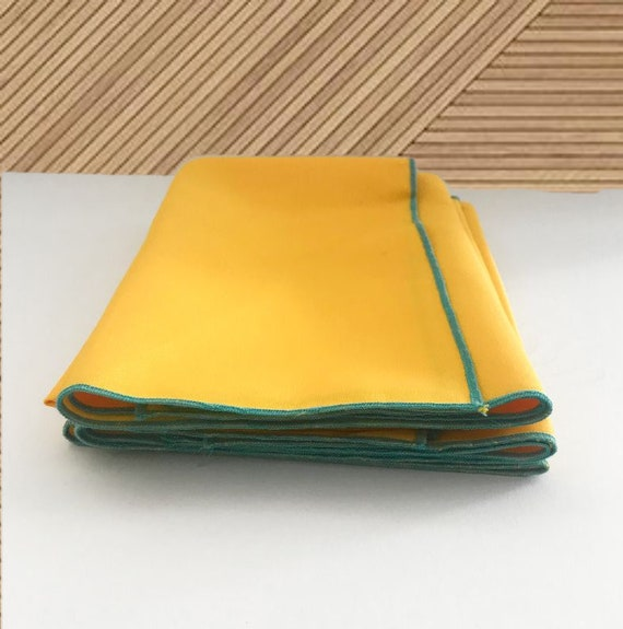 Set Yellow Napkins/Table Mats, Gabardine Handmade Napkins and Mats
