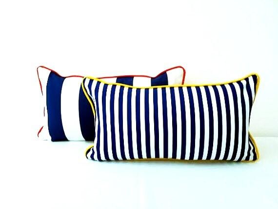 Nautical Stripes Blue and White Throw Pillow, Striped Cushion Beach Design, In Three Sizes, Free Shipping