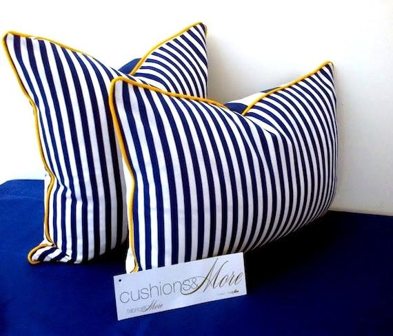 Nautical Stripes Blue and White Throw Pillow, Lumbar Cushion  Beach Design
