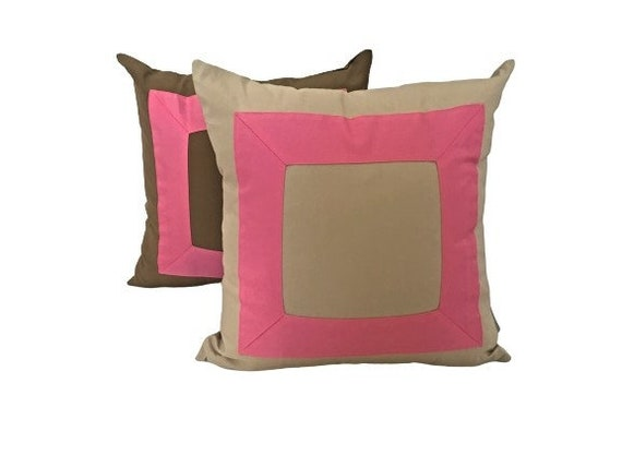Beige With Pink Pillow Cover, Beige Cotton Cushion Cover with Candy Pink Square